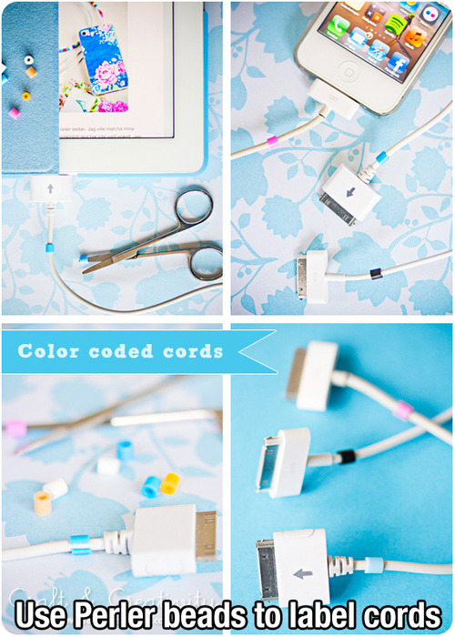 Use perler beads to label cords