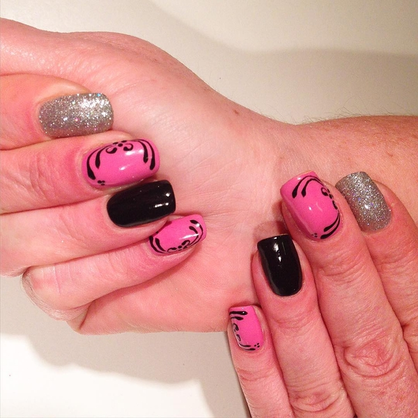 Black and Pink Swirls with Silver Glitter Nail Design
