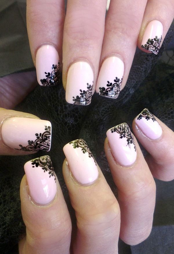 Light Pink with Black Flowers nail Design