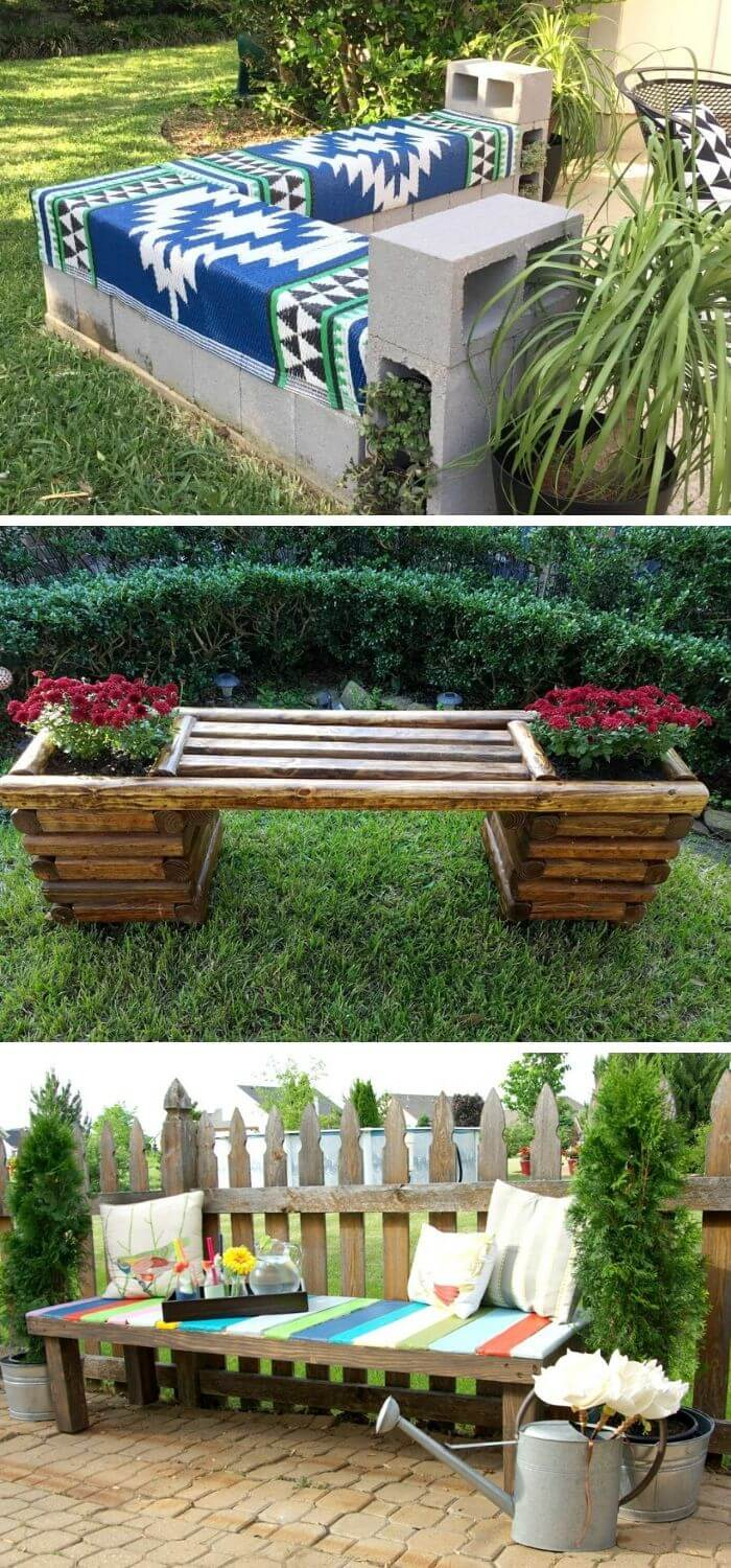 Backyard DIY Garden Benches
