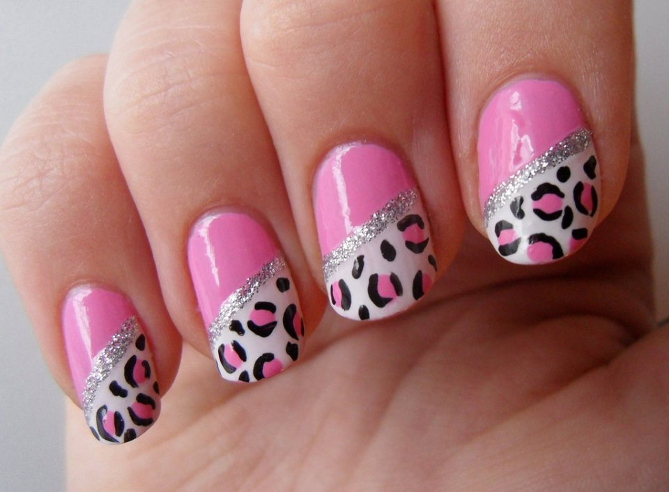 Pink and Black Leopard Nail Designs