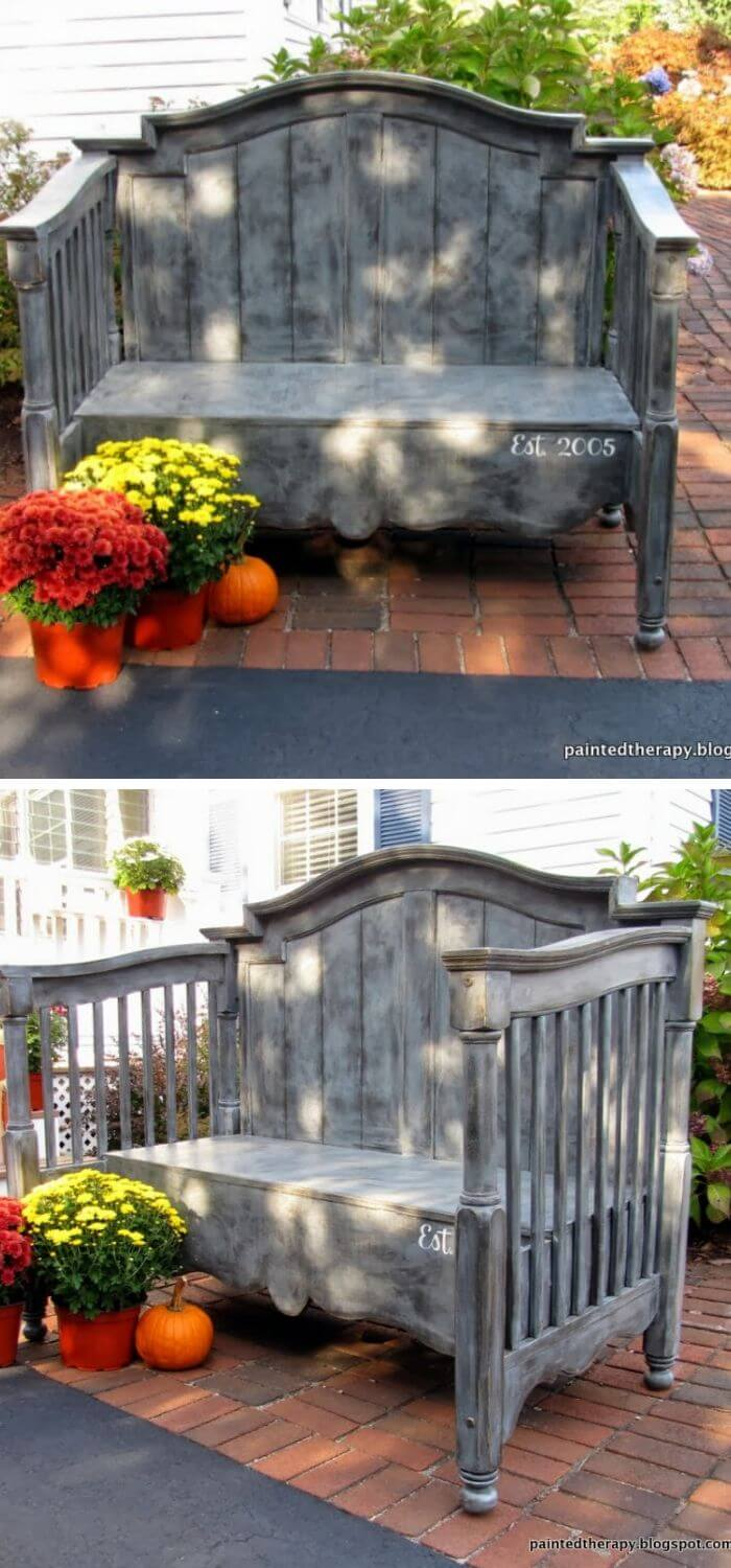 Old Baby Crib Bench for the garden