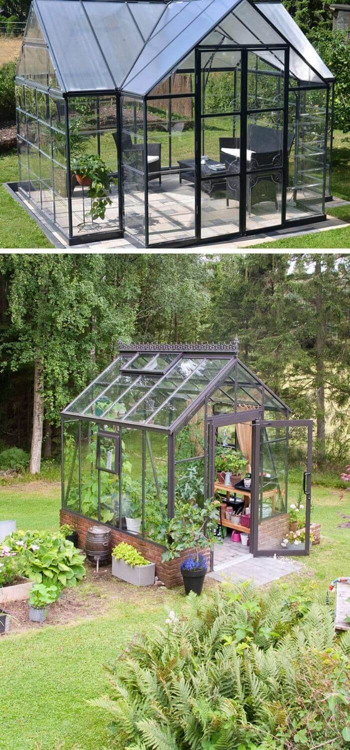 A Backyard with a Greenhouse