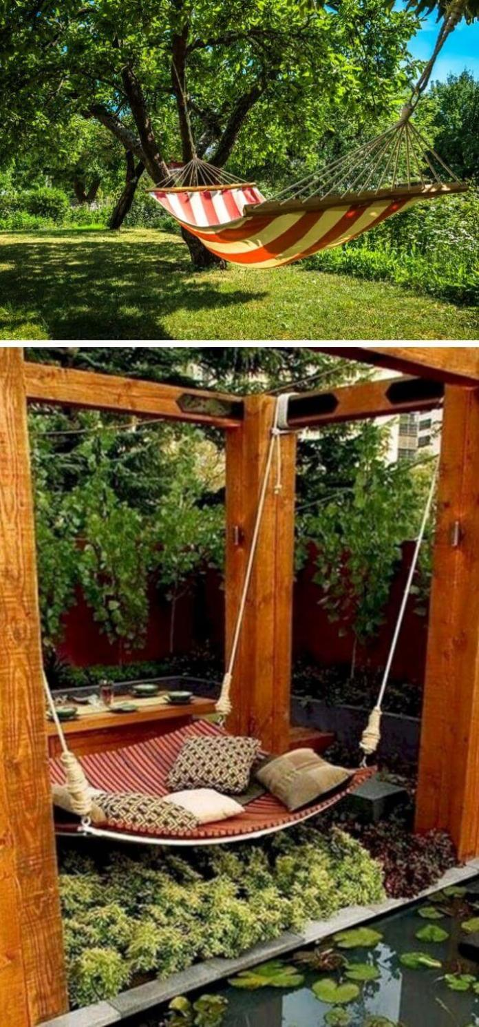 A Backyard with a hanging Hammock