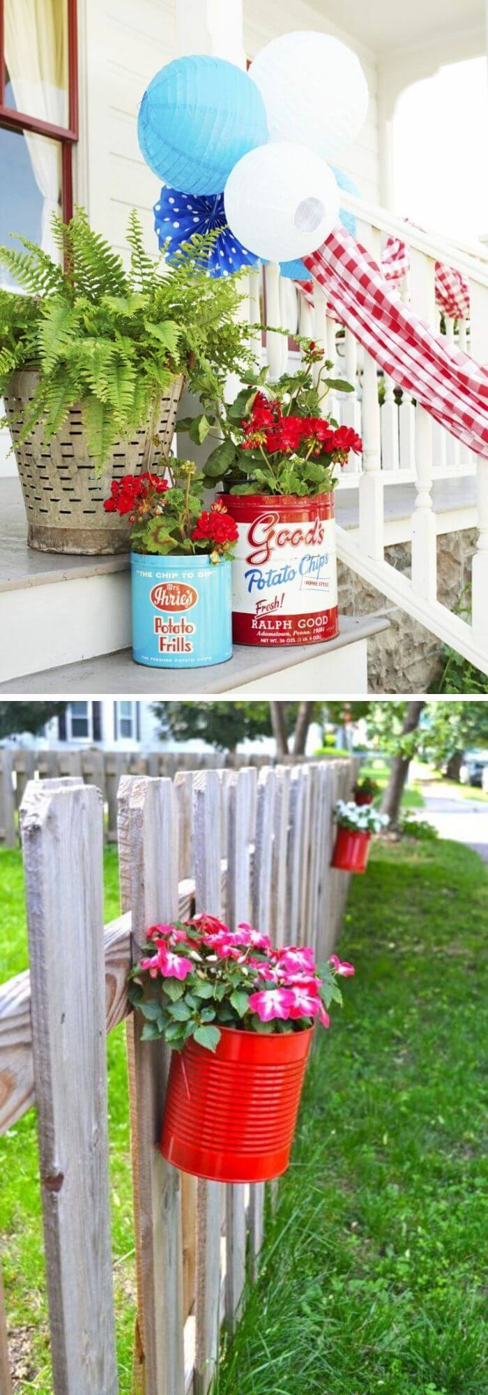 A Backyard with Recycled Vintage Tins