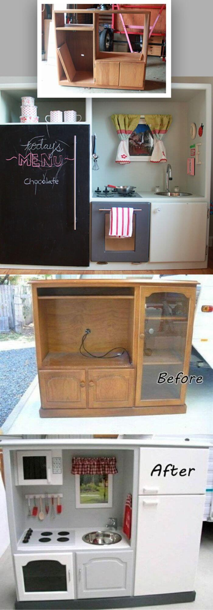 Transform an old entertainment center into a kid's dream play kitchen