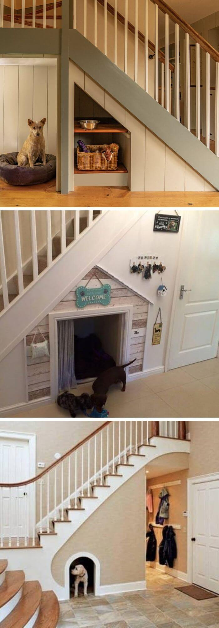 Heaven for dogs and other pets underneath the stairs