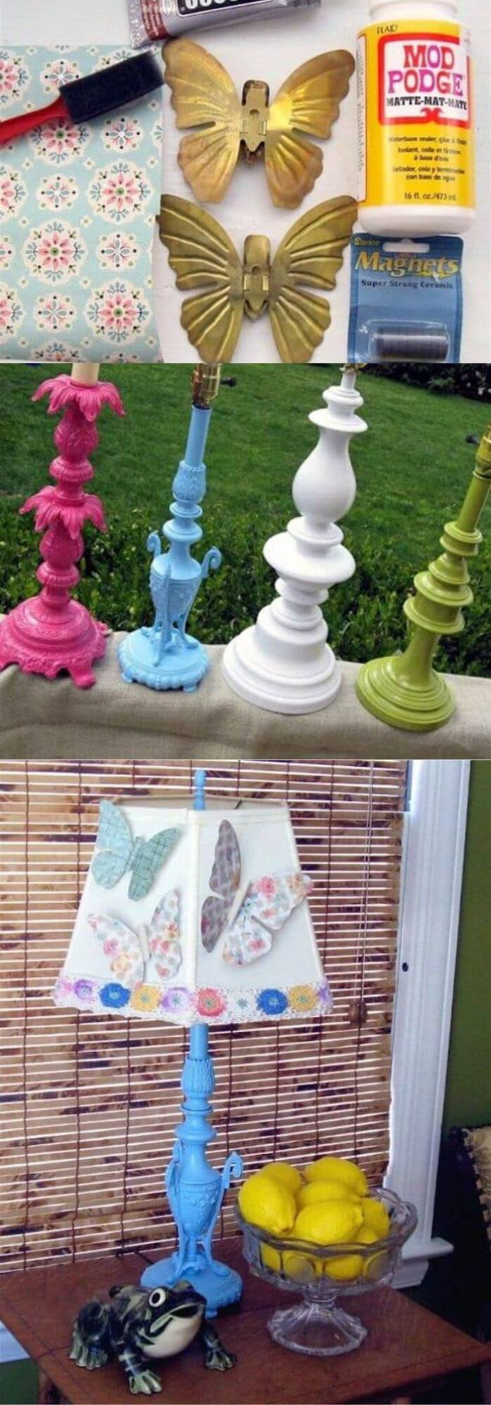 Spray Painted Old Lamp Bases