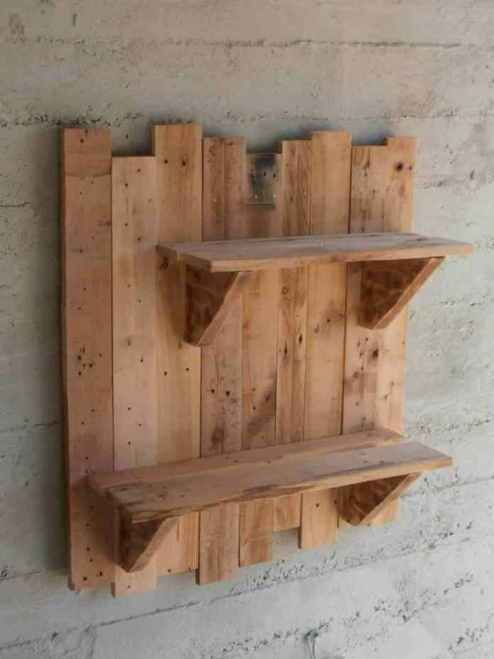 Solid Pallet Wall Shelf