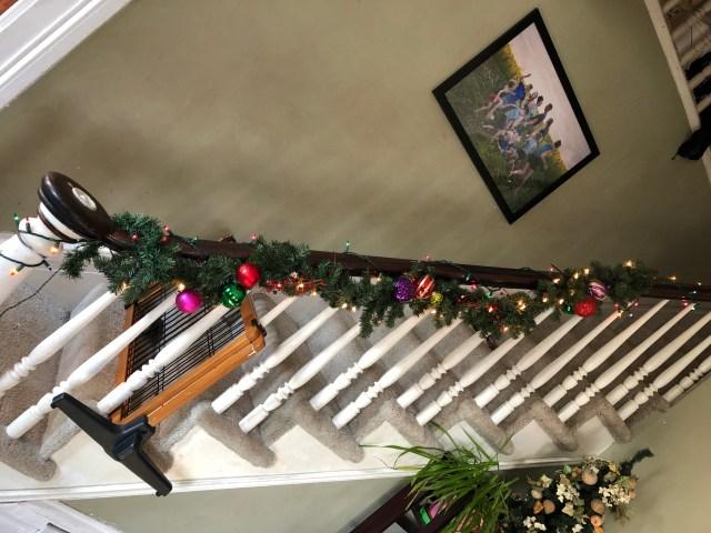 Christmas tree mantel living room decorating decor holiday DIY garland ribbon