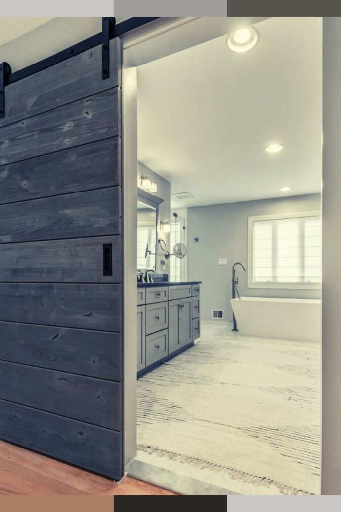 barn door on bathroom