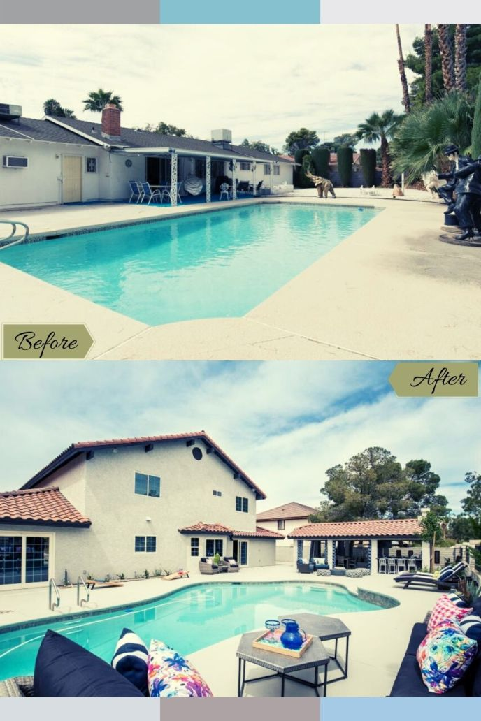 rectangle pool remodel before and after