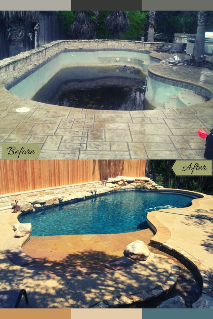 pool remodel before with rock and after