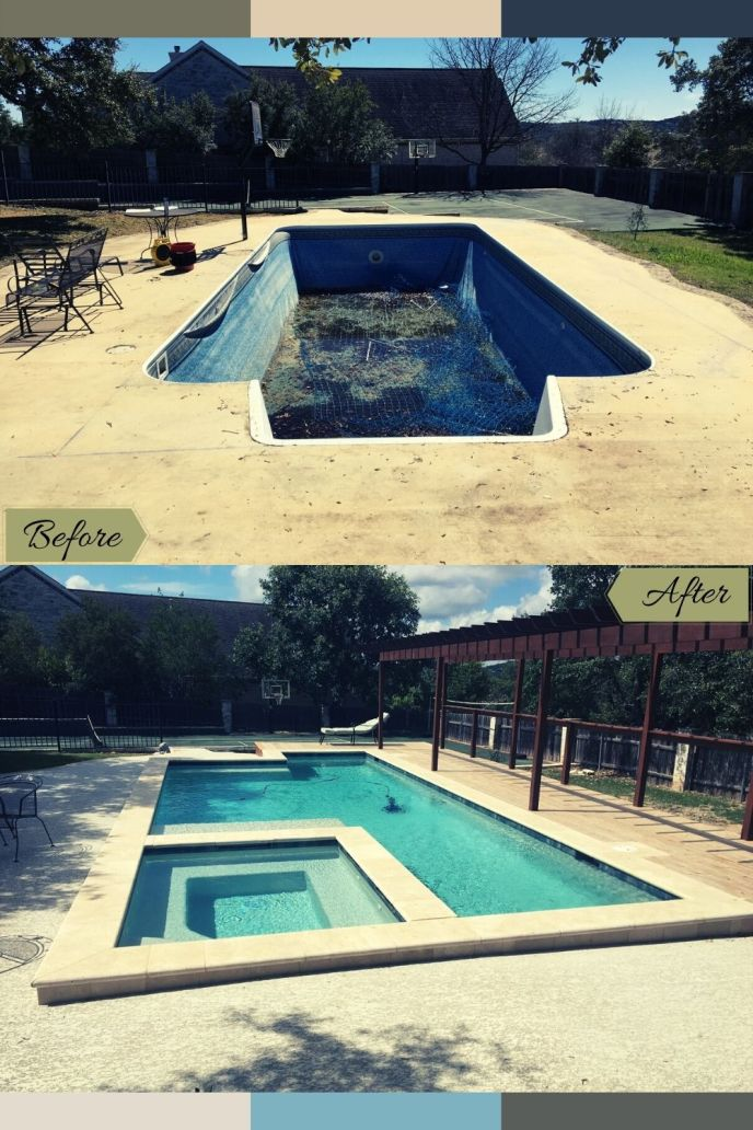 swimming pool remodel before and after