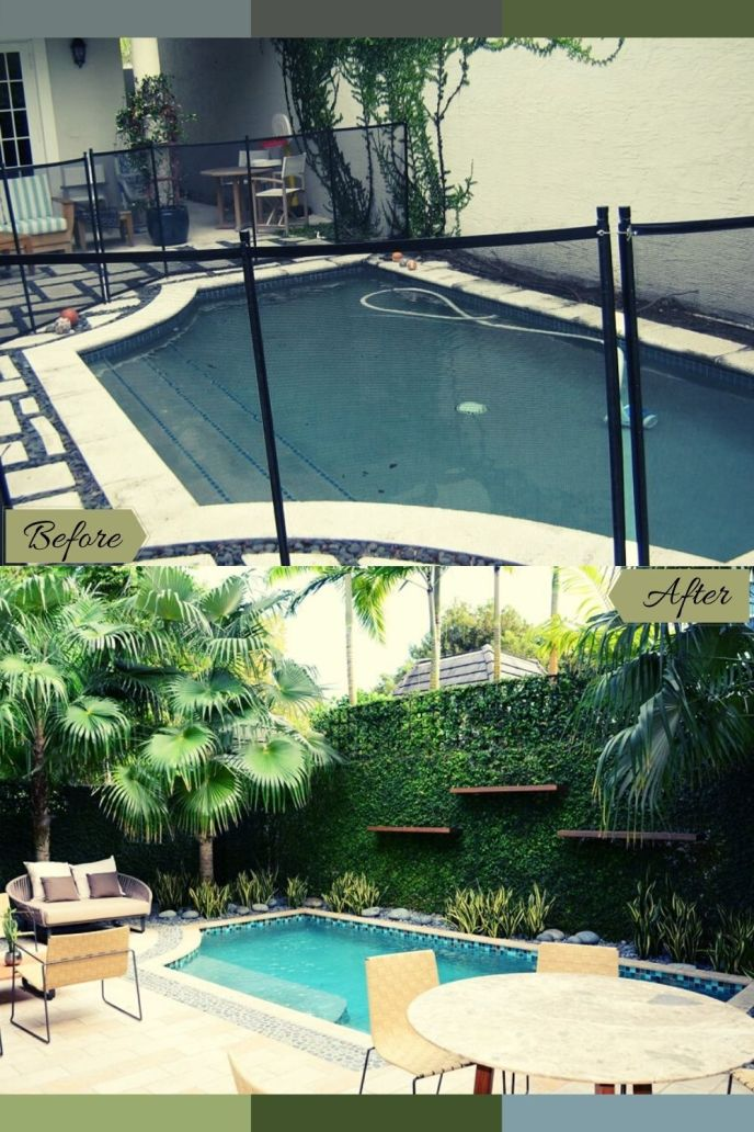 backyard pool before and after