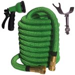 100-FOOT-Green-Expanding-Garden-Hose-NEW-2016-Design-Strongest-Expandable-Hose-DOUBLE-LAYER-Latex-Core-SOLID-BRASS-Fitting-TOUGH-Nylon-Fabric-Spray-Nozzle-STAINLESS-STEEL-Holder-0