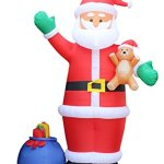 12-Foot-Christmas-Inflatable-Santa-Claus-with-Gift-Bag-and-Bear-Yard-Garden-Decoration-0