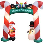 8-Foot-Tall-Lighted-Christmas-Inflatable-Candy-Cane-Archway-with-Santa-Claus-Snowman-Penguins-and-Gift-Yard-Party-Decoration-0