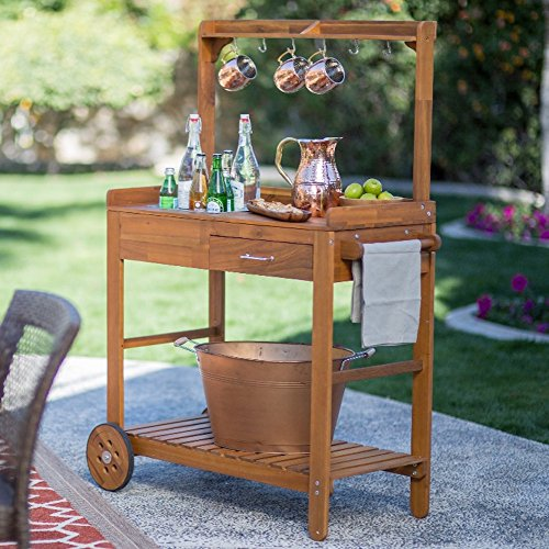 Acacia Wood Garden Potting Bench Sink With Storage Drawer Elevated Shelf  Wooden Workstation Outdoor Patio Furniture
