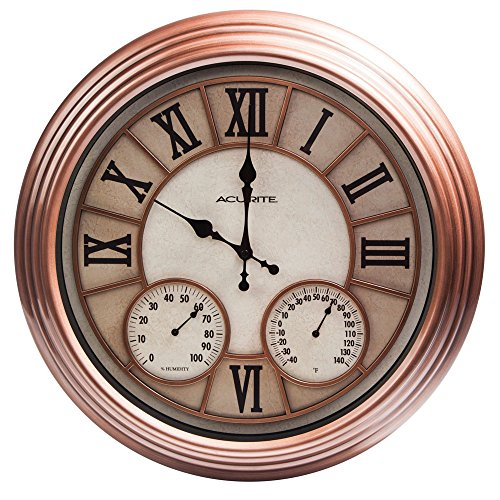 acurite metal outdoor clock with thermometer and humidity 18inch