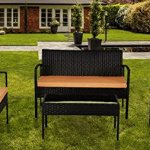 IDS-Home-Outdoor-Garden-Lawn-Patio-Furniture-Sofa-Set-PE-Rattan-Wicker-CreamBrown-Cushioned-Black-Seat-table-4-Piece-0