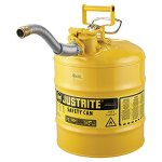 Justrite-7250230-AccuFlow-5-Gallon-1175-OD-x-1750-H-Galvanized-Steel-Type-II-Yellow-Safety-Can-With-1-Flexible-Spout-0