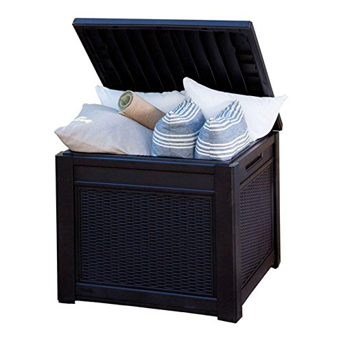 Keter Cube Wood Look 55 Gallon All Weather Garden Patio Storage Table Or Bench Farm Amp Garden