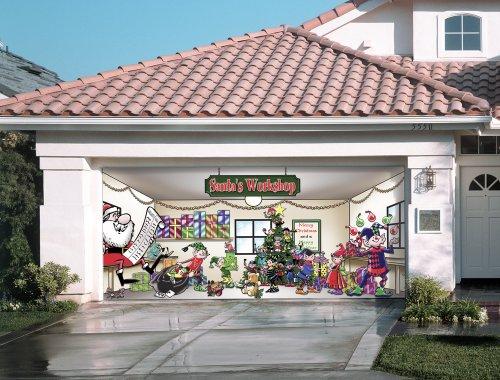 Santa's Workshop Outdoor Christmas Holiday Garage Door ... on Garage Decoration  id=39394