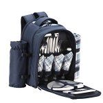VonShef-4-Person-Blue-Tartan-Picnic-Backpack-With-Cooler-Compartment-Detachable-BottleWine-Holder-Fleece-Blanket-Flatware-and-Plates-0-0