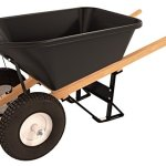 Bon-11-661-Premium-Contractor-Grade-Poly-Tray-Double-Wheel-Wheelbarrow-with-Wood-Hande-and-Knobby-Tire-5-34-Cubic-Feet-0