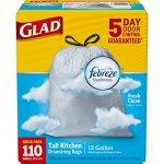 Glad-OdorShield-Tall-Kitchen-Drawstring-Trash-Bags-Febreze-Fresh-Clean-13-Gallon-110-Count-2-Pack-0-1