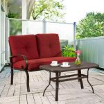 Homevibes-2-Pieces-Outdoor-Loveseat-Patio-Love-Seat-Furniture-Set-Garden-Wrought-Iron-2-Seat-Bench-Backyard-Coffee-Table-Metal-Sofa-and-Table-Set-with-Cushions-Brick-Red-0