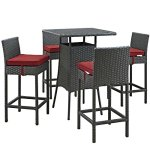 Modway-EEI-1967-CHC-RED-SET-5-Piece-Sojourn-Outdoor-Patio-Sunbrella-Pub-Set-Canvas-Red-0-0