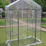 Small-3-tier-Walk-in-Greenhouse-with-6-Shelves-and-Clear-PVC-Cover-0