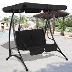 TANGKULA-2-Person-Canopy-Swing-Chair-Outdoor-Patio-Glider-Hammock-Seat-Cushioned-Furniture-Steel-0-1