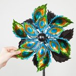 Bits-and-Pieces-Peacock-Feather-Wind-Spinner-14-Inch-Decorative-Kinetic-Wind-Mill-Unique-Outdoor-Windspinner-Lawn-and-Garden-Dcor-Lawn-Ornament-0-1