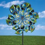 Bits-and-Pieces-Solar-Peacock-Wind-Spinner-Decorative-Solar-Powered-Kinetic-Wind-Mill-Glass-Ball-Emits-Color-Changing-Light-Unique-Outdoor-Lawn-and-Garden-Dcor-Lawn-Ornament-0-0