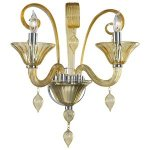 Cyan-Lighting-5282-2-14-Treviso-Two-Light-Wall-Bracket-Chrome-Finish-with-Amber-Murano-Glass-with-Amber-Murano-Crystal-0