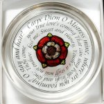 Decorative-Hand-Painted-Stained-Glass-Paperweight-in-a-Tudor-Rose-Carpe-Diem-Design-0
