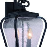 Luxury-French-Country-Outdoor-Wall-Light-Medium-Size-175H-x-85W-with-Mediterranean-Style-Elements-Soft-and-Simple-Design-Inky-Black-Silk-Finish-and-Seeded-Glass-UQL1201-by-Urban-Ambiance-0