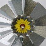 Mini-17-Inch-Made-in-USA-Windmill-galvanized-Steel-Yellow-Brown-Green-Trim-Kansas-Tail-0-0