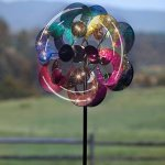 Plow-Hearth-54345-Gala-4-Blade-Solar-Powered-Outdoor-Garden-Wind-Spinner-Sculpture-with-LED-Lights-24-x-2075-x-84-Multicolor-0