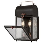 Westinghouse-6334900-Mulberry-Two-Light-Outdoor-Wall-Fixture-Matte-Black-Finish-with-Washed-Copper-Accents-and-Clear-Seeded-Glass-0-2