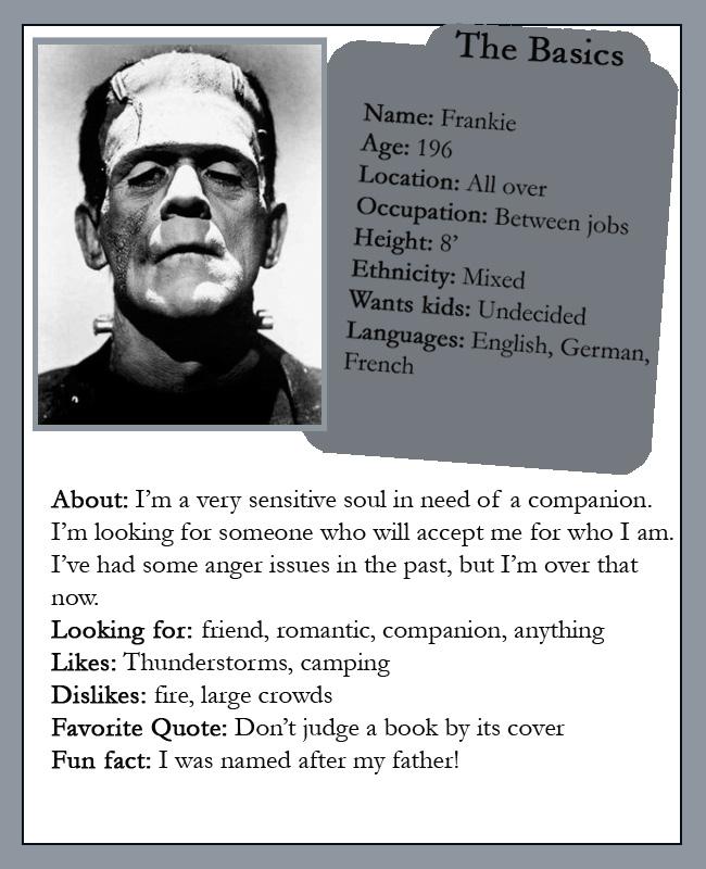Frankenstein online dating profile