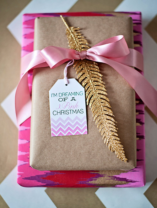 Unique gift wrap - dreaming of a pink christmas gift tags
