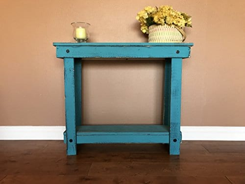 Rustic Handcrafted Teal Reclaimed Console Table