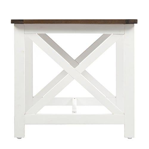 Selvan Indoor Farmhouse Cottage Dark Oak Acacia End Table
