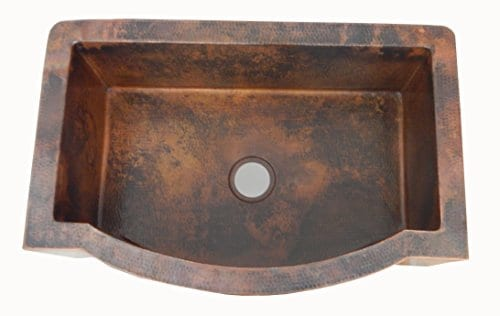 Apron Kitchen Single Mexican Hand Hammered Farmhouse Copper Sink