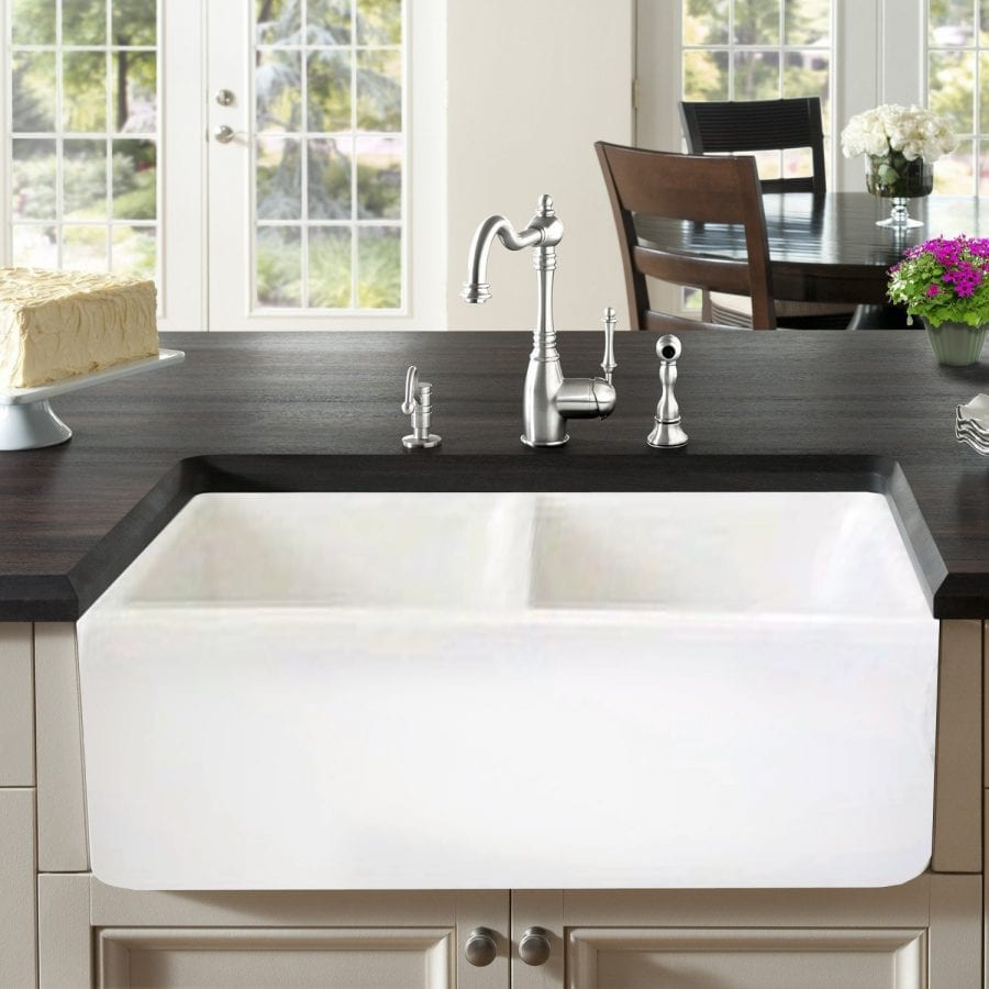 Double Bowl Farmhouse White Fireclay Kitchen Sink, 33\