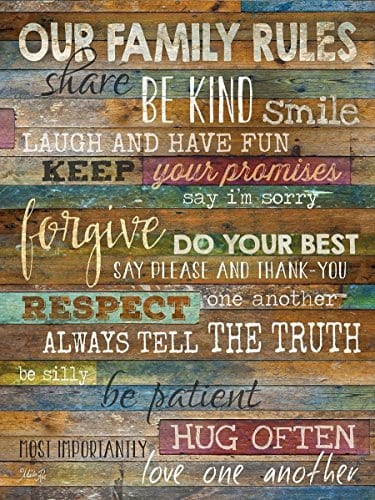 Marvelous Marla Rae Country Wood Our Family Rules Wall Art ...